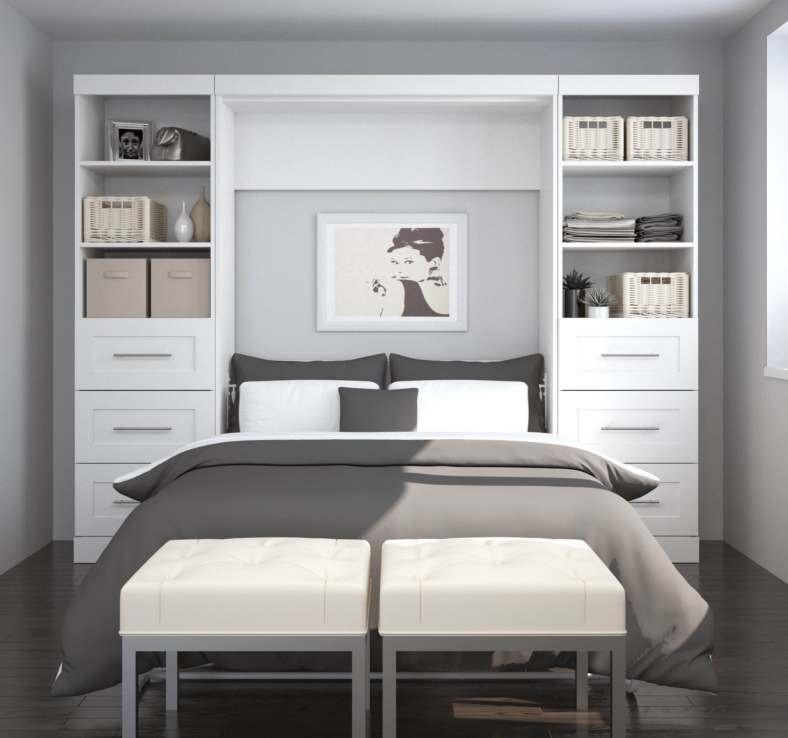 """Pure White 109"""" Drawer Full Wall Bed Wall bed, Bed wall"""