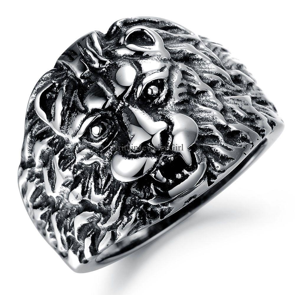 Men/'s Stainless Steel Ring 3D Lion King Ring Gothic Punk Rock Biker Silver