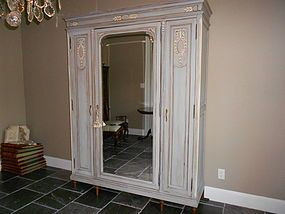 painted closet doors painted 3door mirrored french armoire item