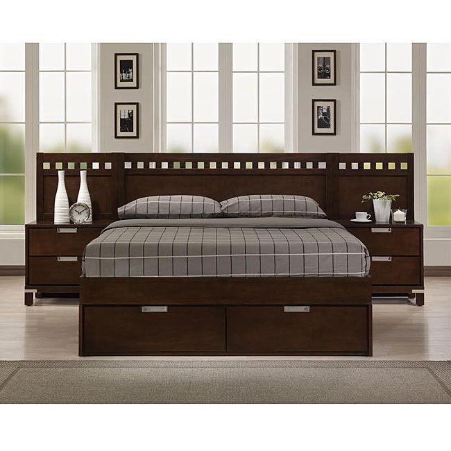 Cama queen size madera nogal muebles para el hogar for Juego de cuarto queen size