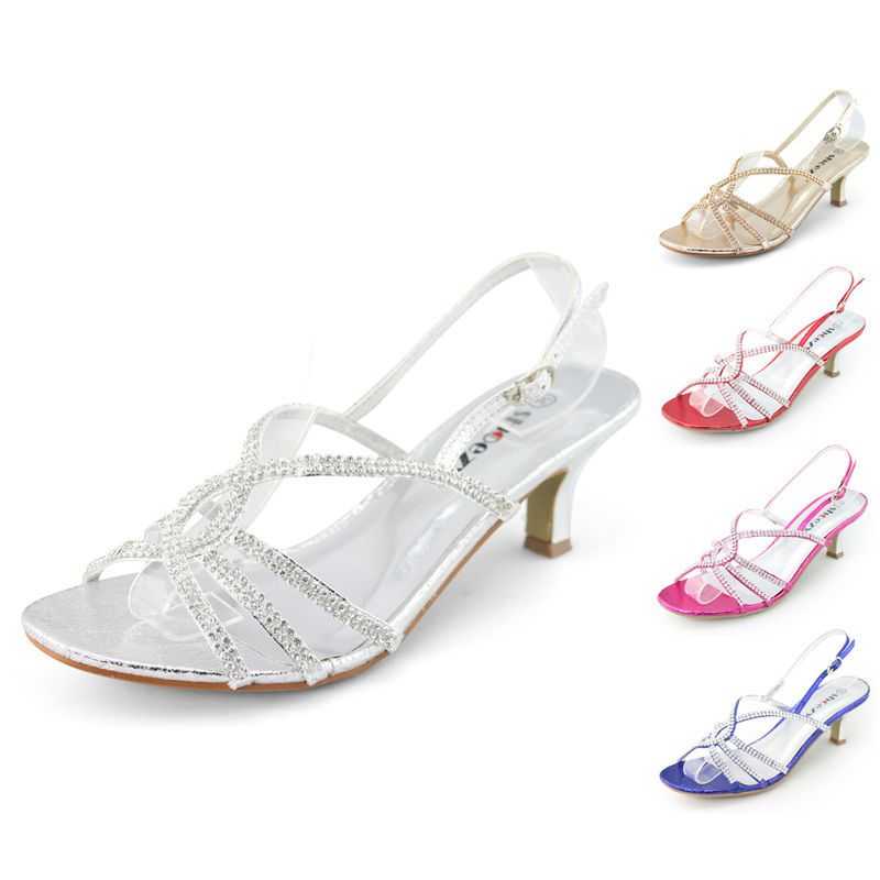 057d6effb70 SHOEZY Womens Strappy Rhinestone Wedding Bridesmaid Dress Low Kitten Heels  Shoes
