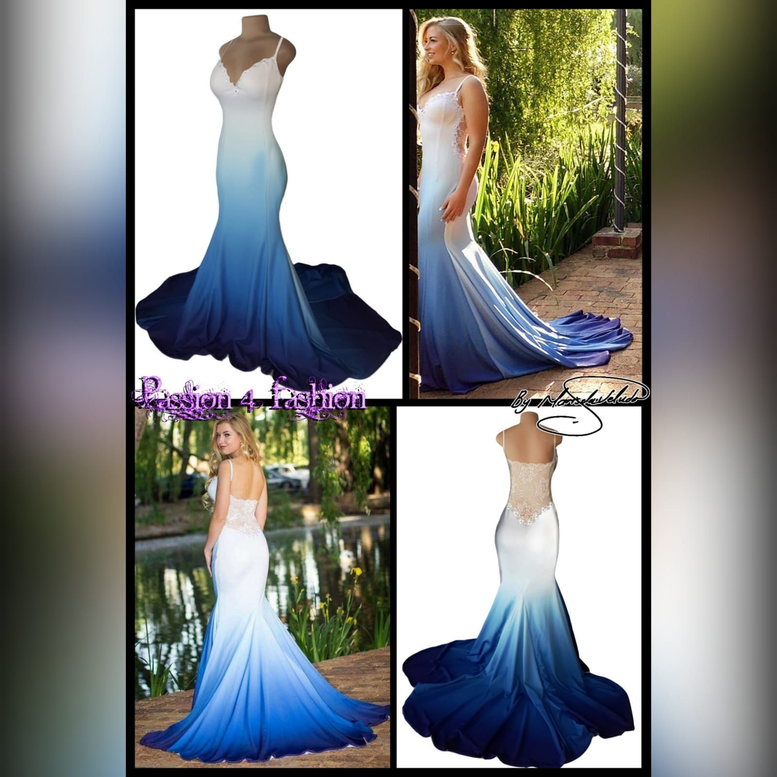White Blue Ombre Soft Mermaid Prom Dress With A Sheer Lace Back Blue Wedding Dresses Mermaid Dresses Ombre Wedding Dress [ 1600 x 1600 Pixel ]