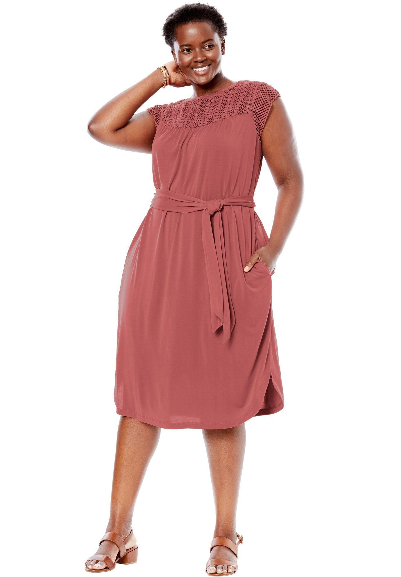 3cafc516695 Crochet Sleeve Tee Dress - Women s Plus Size Clothing