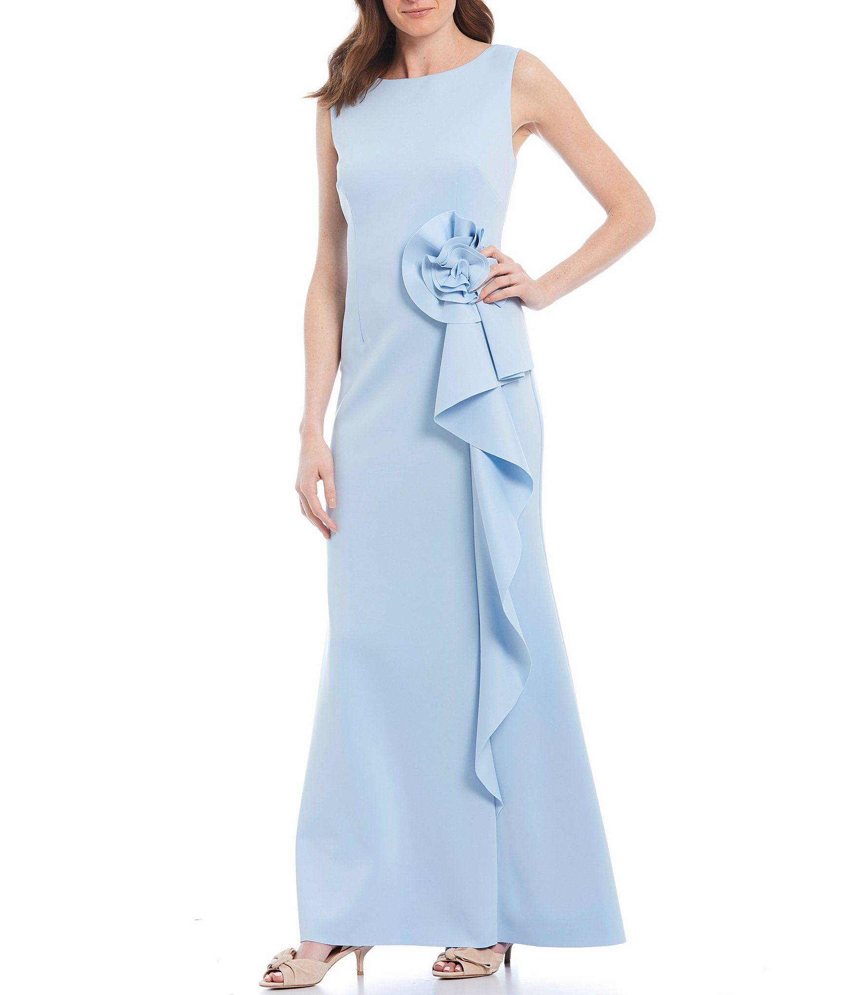 Jessica Howard Rosette Ruffle Sleeveless Scuba Gown