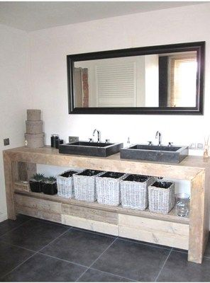 Arredo bagno mobile in legno con cassetti 150x50x75 per due lavabi ...