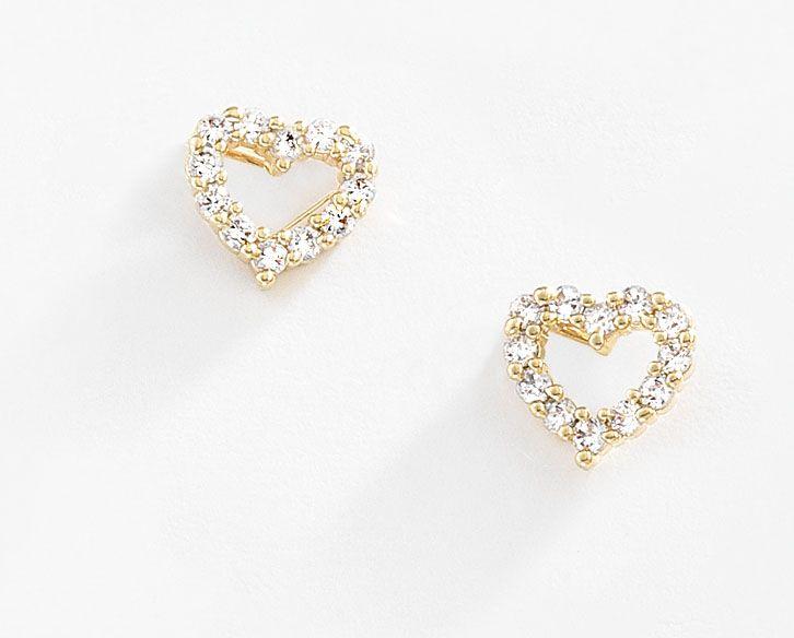 6162e57bb7bb Discretos aretes en forma de corazon con cristales Diamonice® elaborado en  4 baños de oro de 18 kt y sujeción de poste. Modelo 415634.