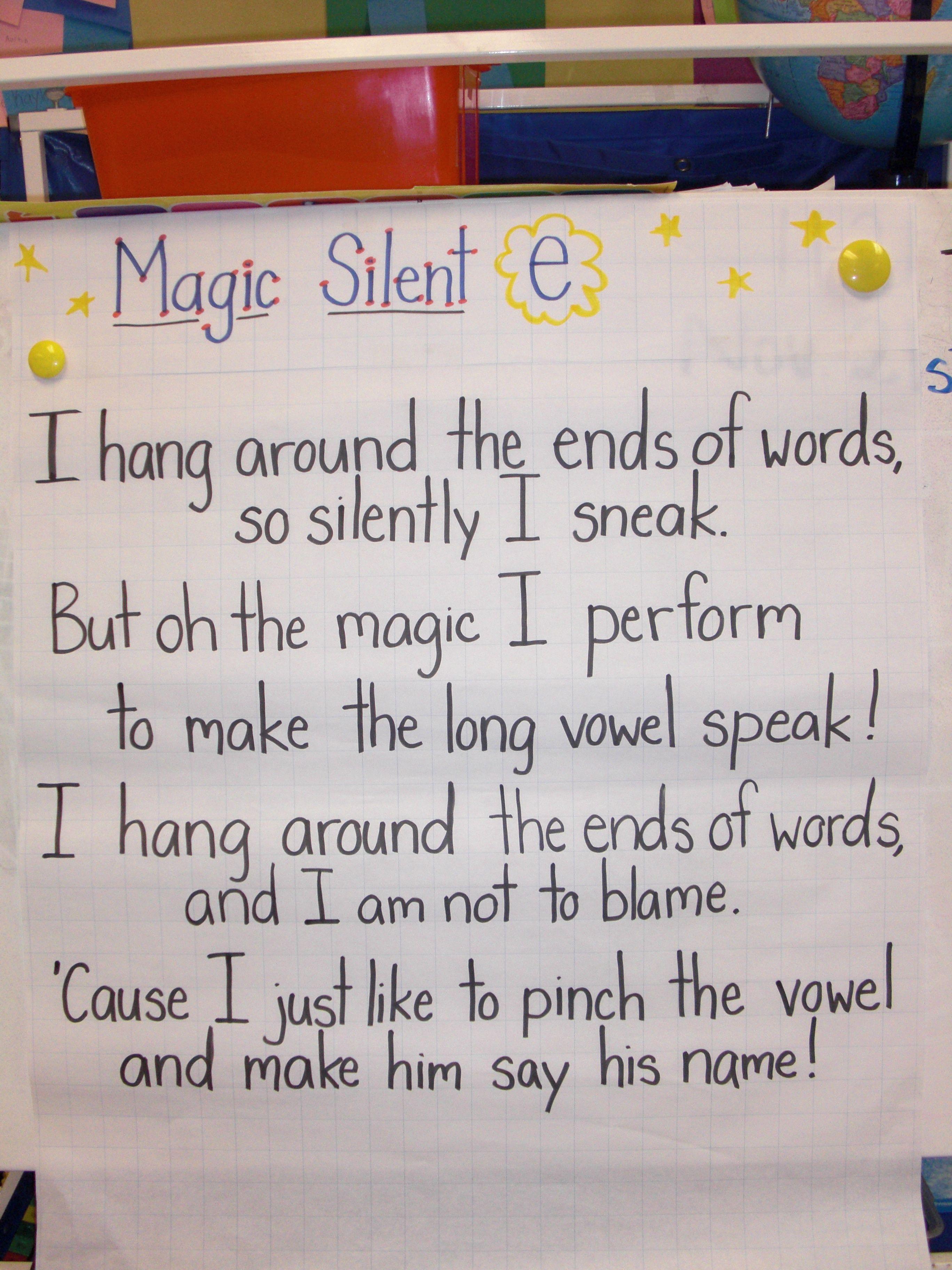 Magic Silent E Chart