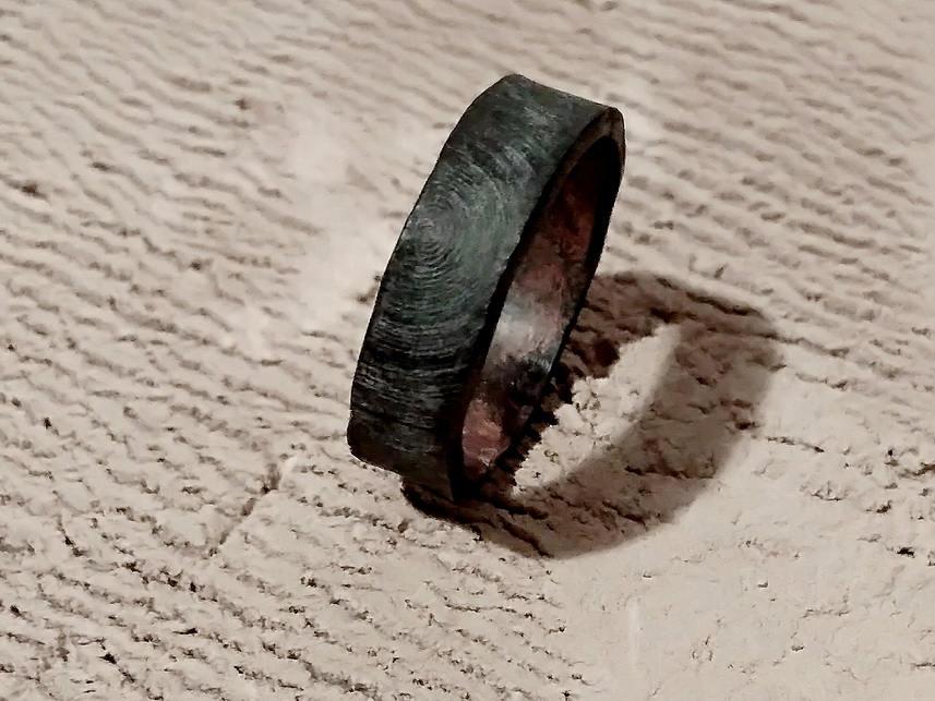 Wood texture Mens Hammered Wedding Band Black Oxidized