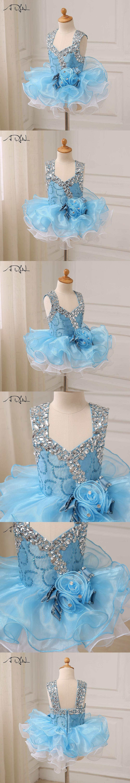 ADLN Baby Party Dresses Beaded Stones Cap Sleeve Ruffled Organza ...