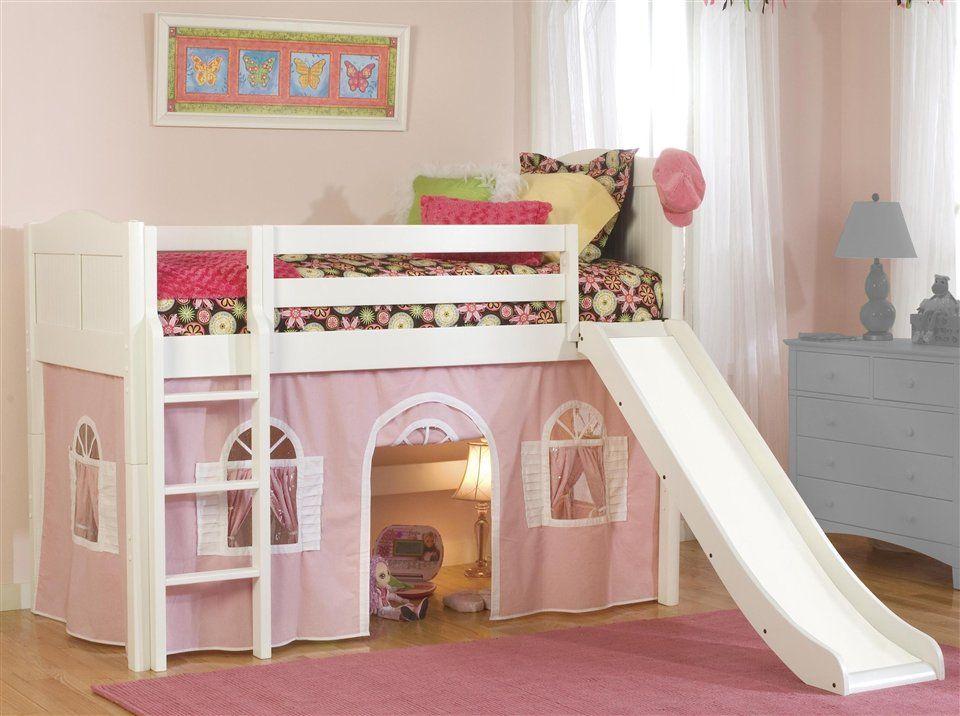 Best Cottage Low Twin Loft Bed W Slide Bottom Curtain In 400 x 300