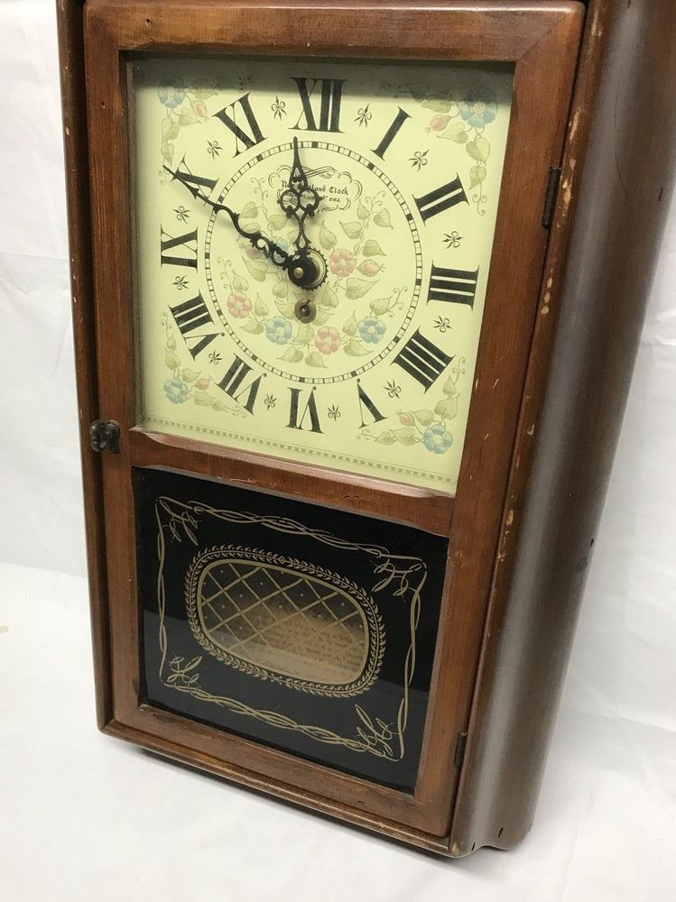 Vintage new england clock company 8 day spring wound pendulum clock