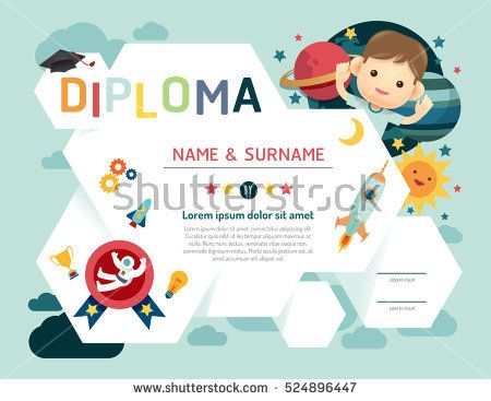 Certificate kids diploma kindergarten template layout space certificate kids diploma kindergarten template layout space background frame design vector education preschool concept yadclub Image collections