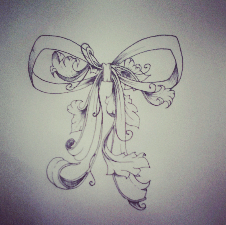 I think this is it :D Pretty much the perfect bow <3 Cant wait to get this on my thighs(: | Botanical bow tattoo design.