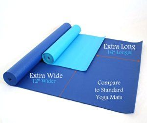 """From Amazon: 84"""" x 36"""" x 1/4"""" Extra Wide, Extra Long, Extra Thick Blue Yoga Pilates Mat. Under $43."""