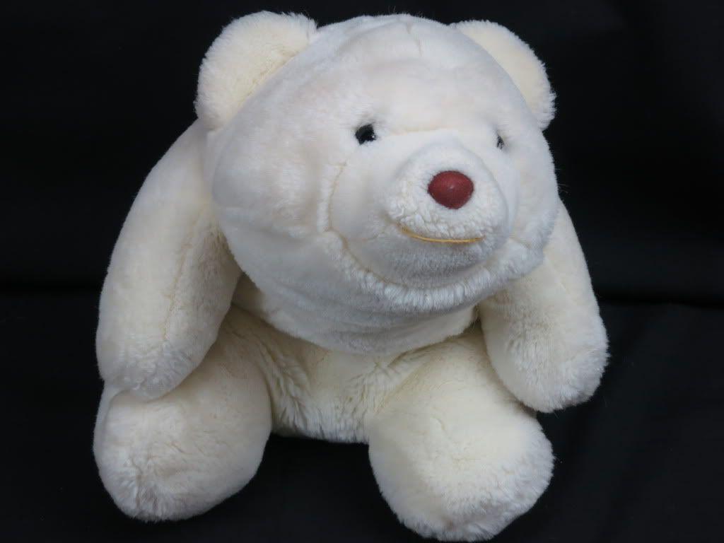 Vintage 1980 gund snuffle white polar bear teddy soft huggable plush ...