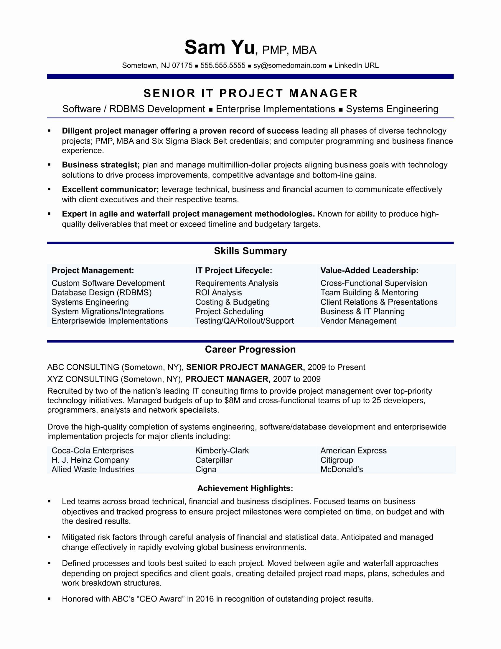 25 Project Manager Resume Pdf in 2020 Project manager
