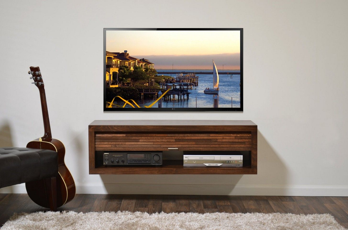Create An Interesting Space In Any Media Room With A Modern Wall Television Stand In 2020 Floating Tv Stand Tv Stand Designs Floating Tv Console