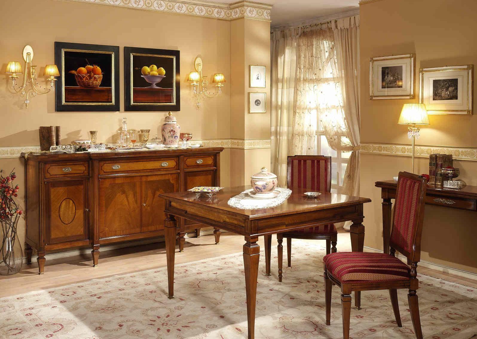 Sala da pranzo in noce ciliegio e satin art 730x for Poltroncine sala da pranzo