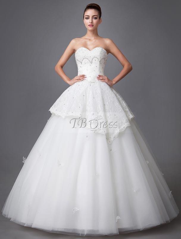 $ 279.99 Amazing Ball Gown Floor-length Sweetheart Lace-up Beading Wedding Dress