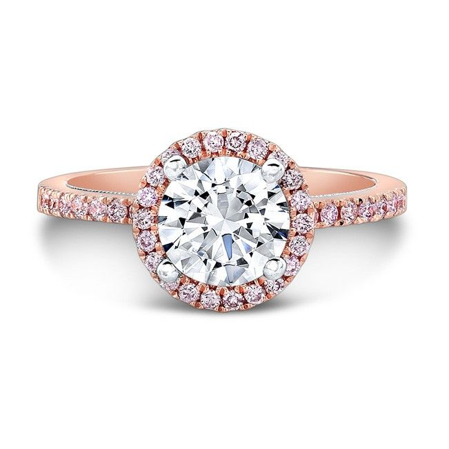 18k Rose And White Gold Pink Diamond Halo Gallery Engagement Ring