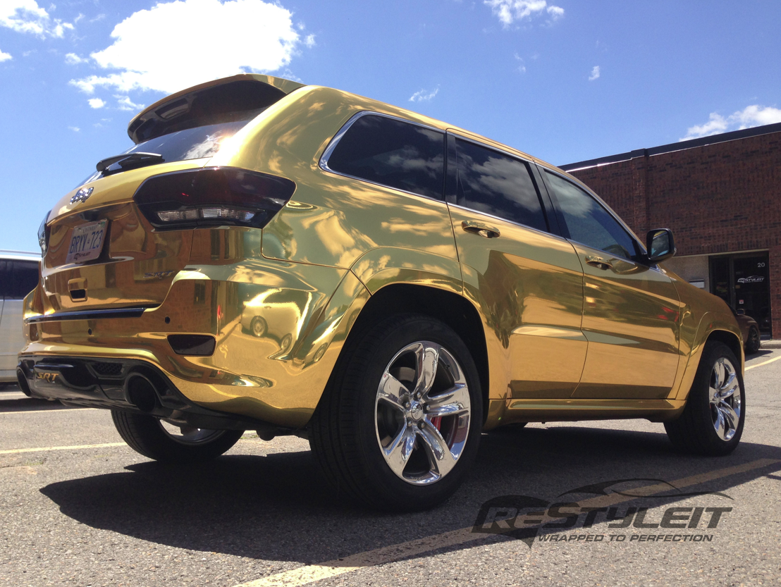 Incroyable 2014 Jeep Grand Cherokee SRT8 Wrapped In Gold Chrome