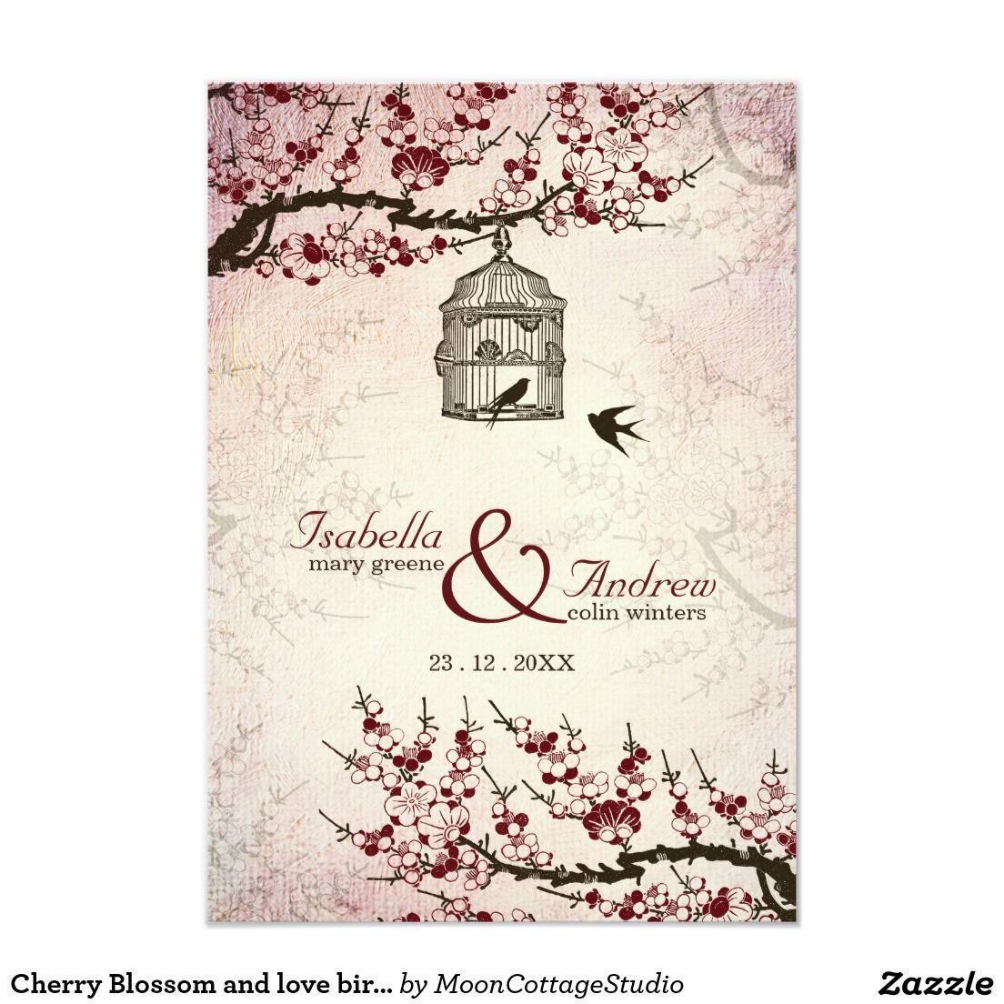 Cherry Blossom and love birds wedding invite | Vintage wedding ...
