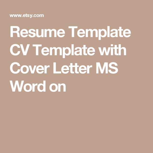 Resume Template Cv Template With Cover Letter Ms Word On  Resume