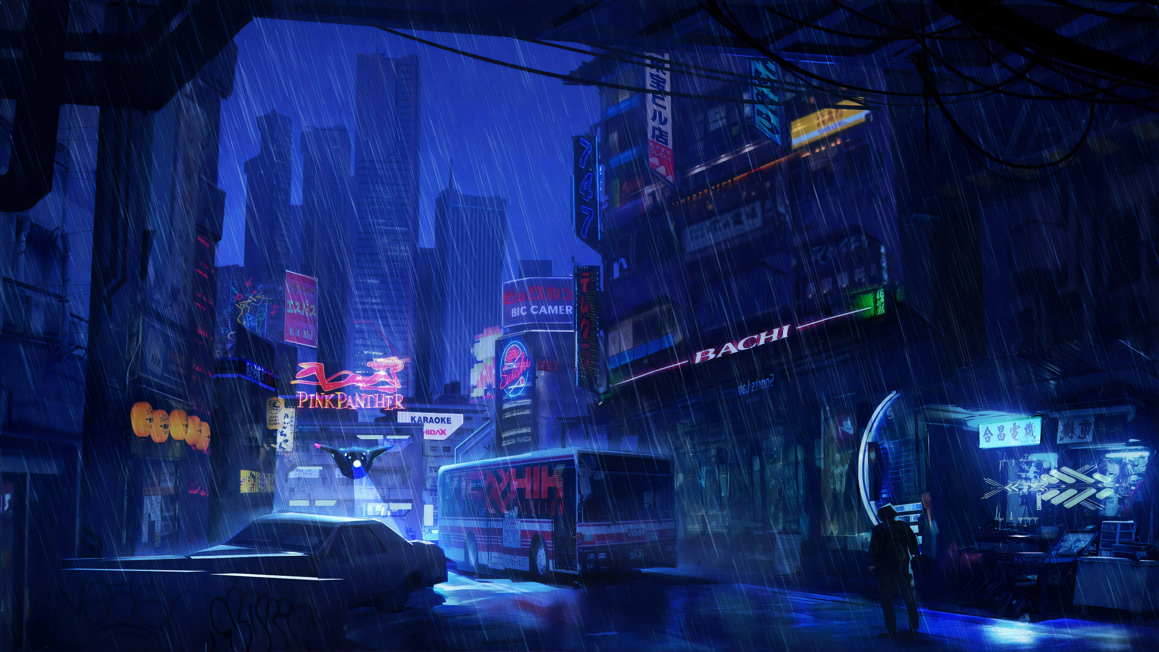 Sci Fi City Cyberpunk Night Rain Skyscraper 4k Wallpaper Hdwallpaper Deskto Computer Wallpaper Desktop Wallpapers Cyberpunk City Desktop Wallpaper Art