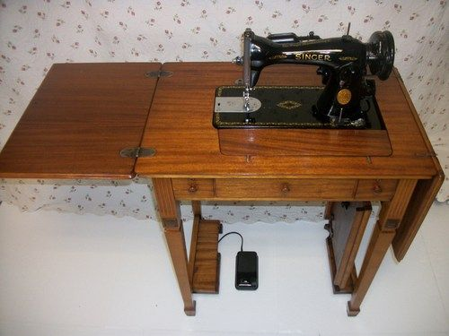 Singer 15-90 sewing machine and deluxe library table cabinet | papasworkshop - Furniture on ArtFire