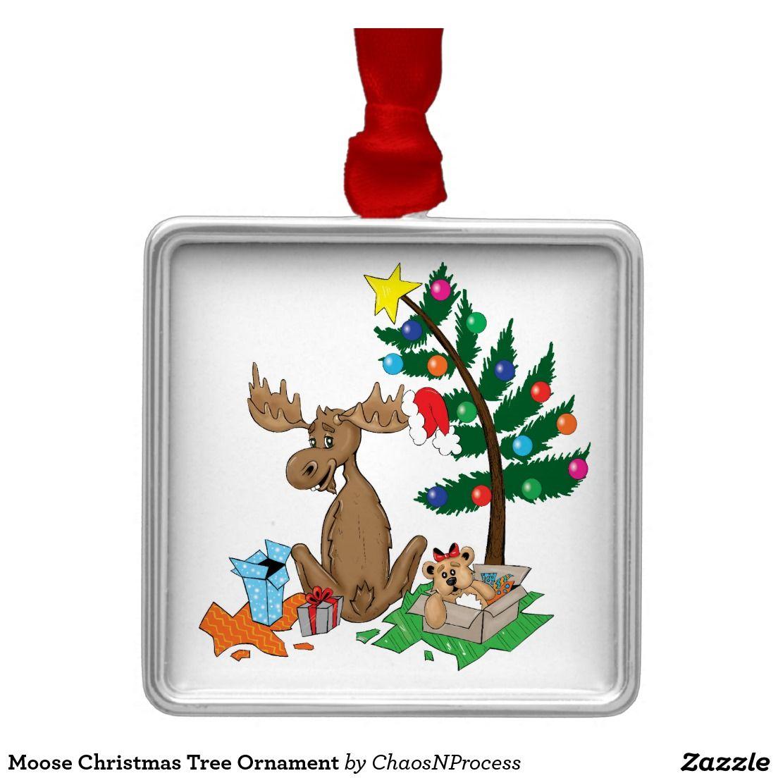 Moose Christmas Tree Ornament Zazzlecom Christmas By Danie