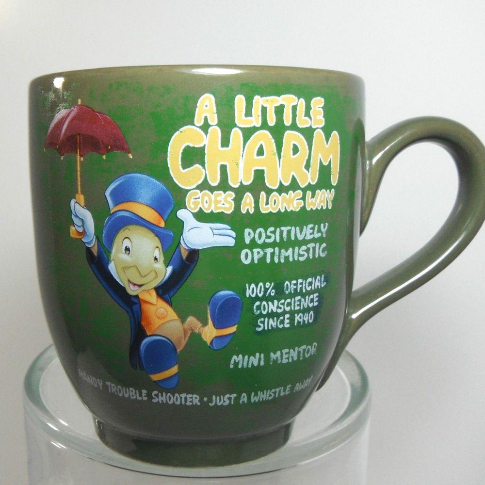 Jiminy Cricket 22 Oz A Little Charm Goes A Long Way Free Ship Jumbo Disney Mug Disney Mugs Mugs Jiminy Cricket