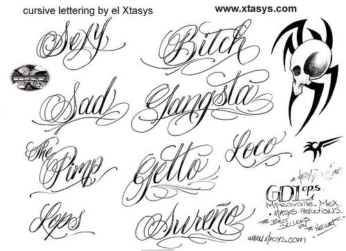 fancy cursive fonts alphabet for tattoos cool writing  letter