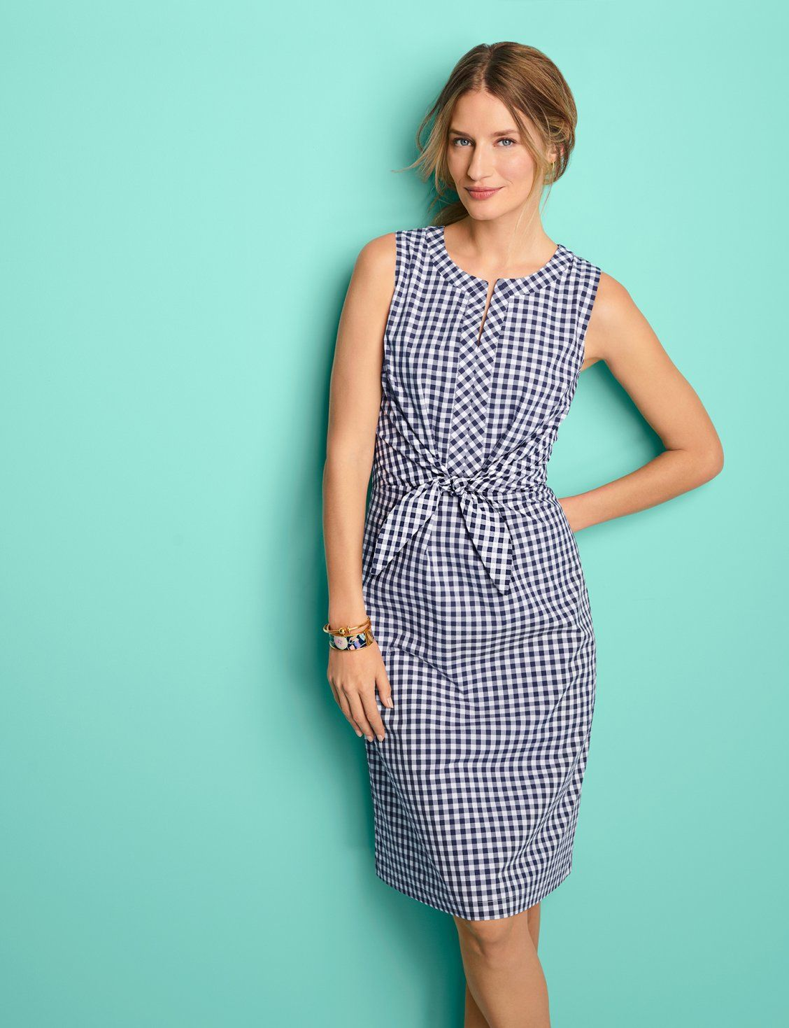 Tie Front Gingham A Line Dress Perfect For Weekend Breaks Or Long Escapes Talbots Resort Swim Gingham Fashion A Line Dress Talbots Dress [ 1469 x 1128 Pixel ]