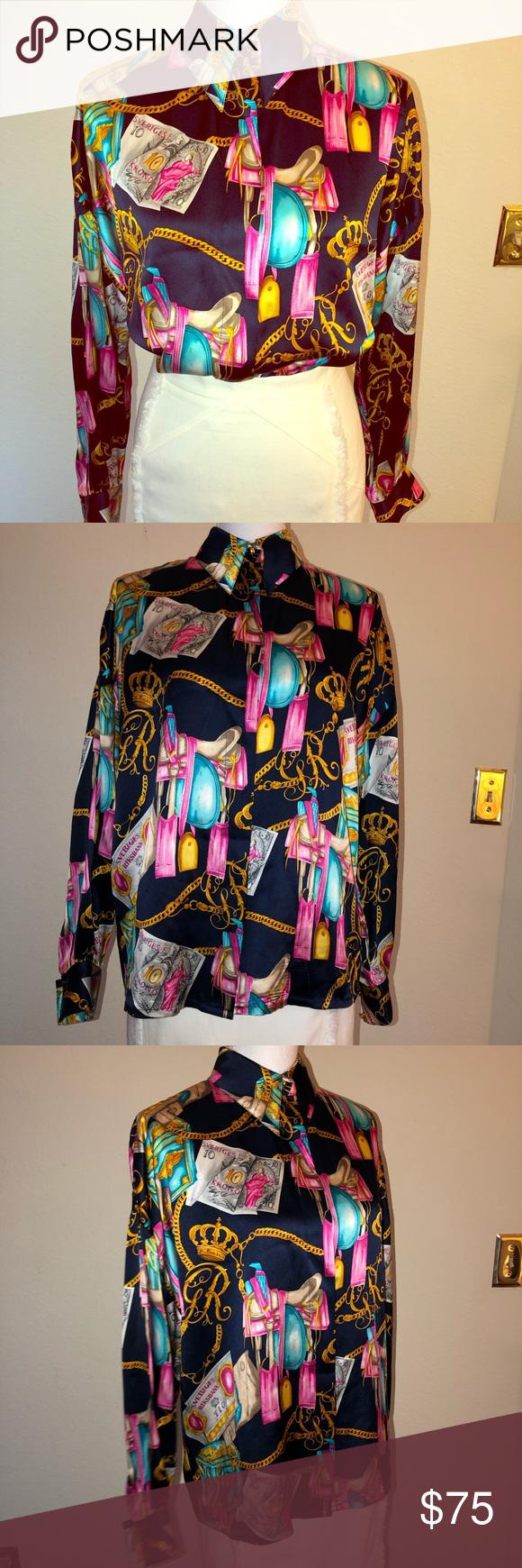 dc54733b11b9b4 Vintage Starington by Charlotte Silk Blouse Vintage 1990 s Starington  Blouses by Charlotte for Saks Fifth Avenue Silk Button-Down Blouse Size  4  (90 s ...