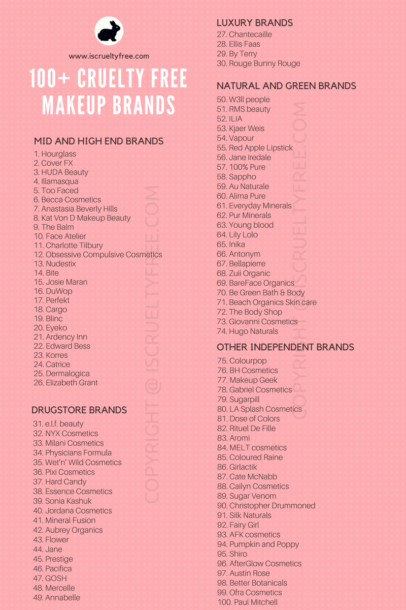 100 Cruelty Free Makeup Brands Latest 2017 List Infographic Source Iscrueltyfree Com Cruelty Free Makeup Brands Cruelty Free Lipstick Free Makeup