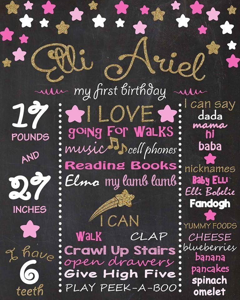 Twinkle Twinkle Little Star Birthday Chalkboard Baby's