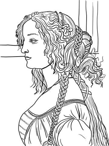 Portrait Of Simonetta Vespucci By Sandro Botticelli Coloring Page Free Printable Coloring Pages Sandro Botticelli Van Gogh Coloring Hokusai Coloring