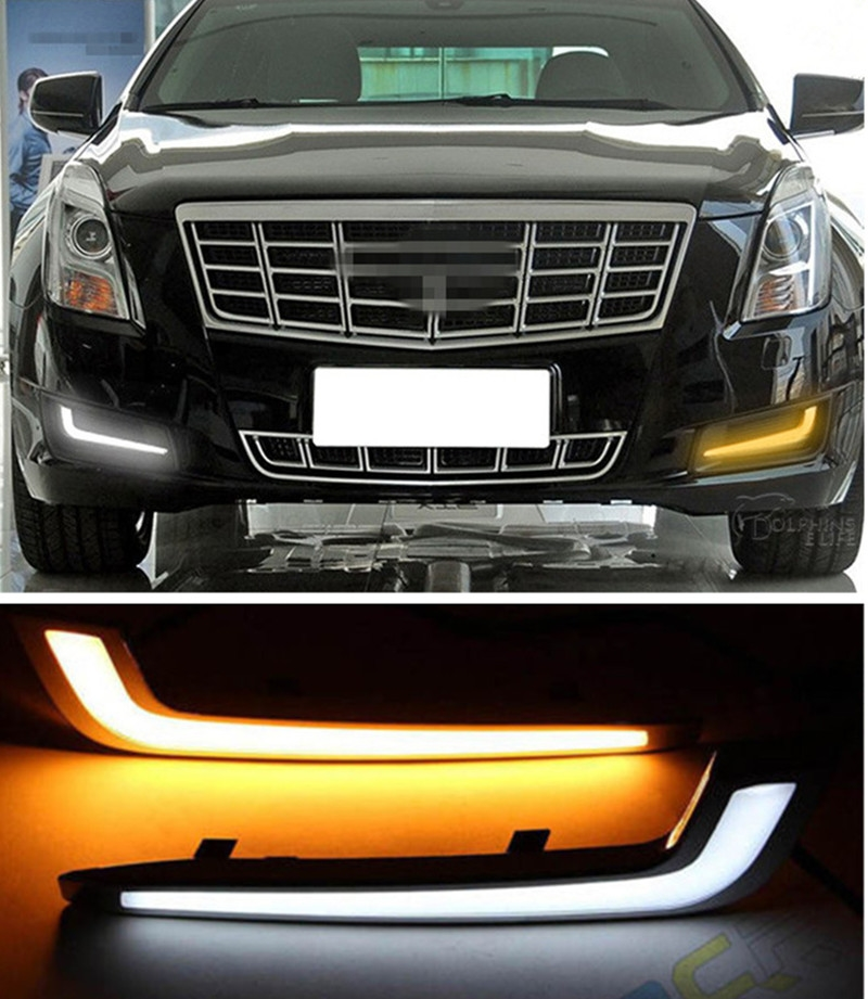 111.80$  Watch here - http://ali3ng.worldwells.pw/go.php?t=32788980303 - Car LED DRL Kit Daytime Running Light Fog Lamp With Turn Signal For Cadillac XTS 2013 2014 2015 2016  111.80$
