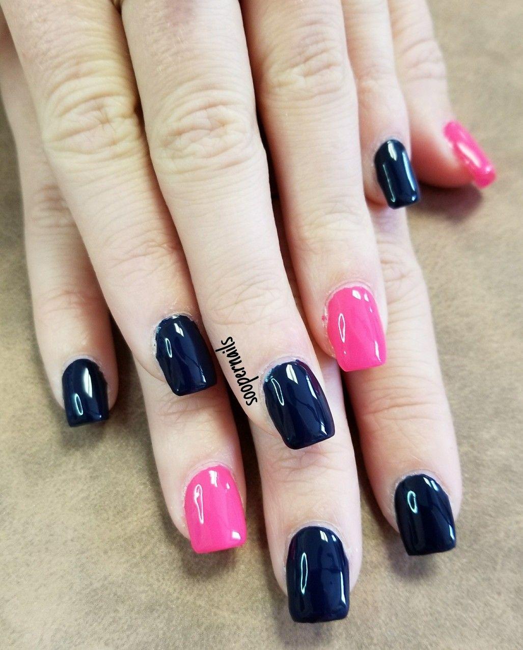Navy Blue And Hot Pink Nails Pink Nails Cancer Nails Nails