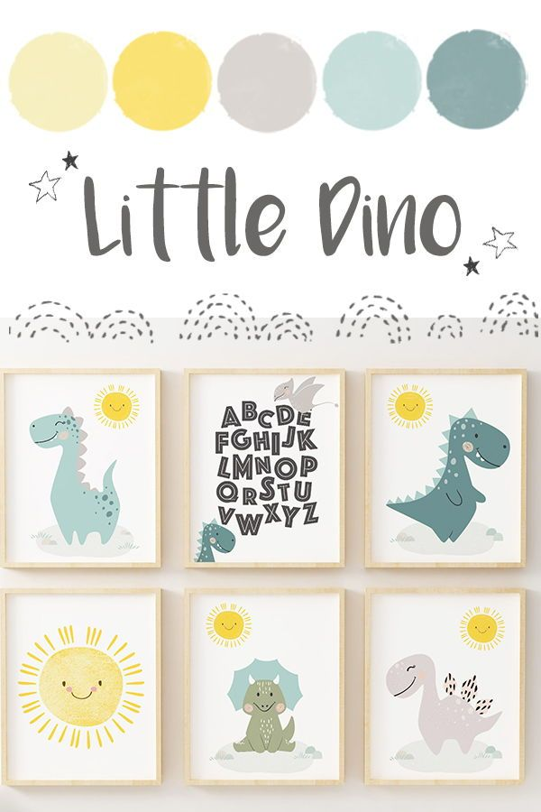 Baby dinosaur prints nursery wall art. Nursery decor, printable dino poster perfect for your little one's nursery. ROAR! Includes ABC print