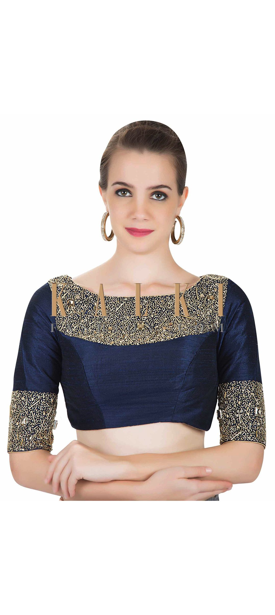 3c05e9b8 Navy Blue Raw Silk Saree Blouse Embedded with Cut Dana Work only on Kalki