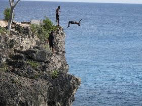 Cliff diving. (Negril)