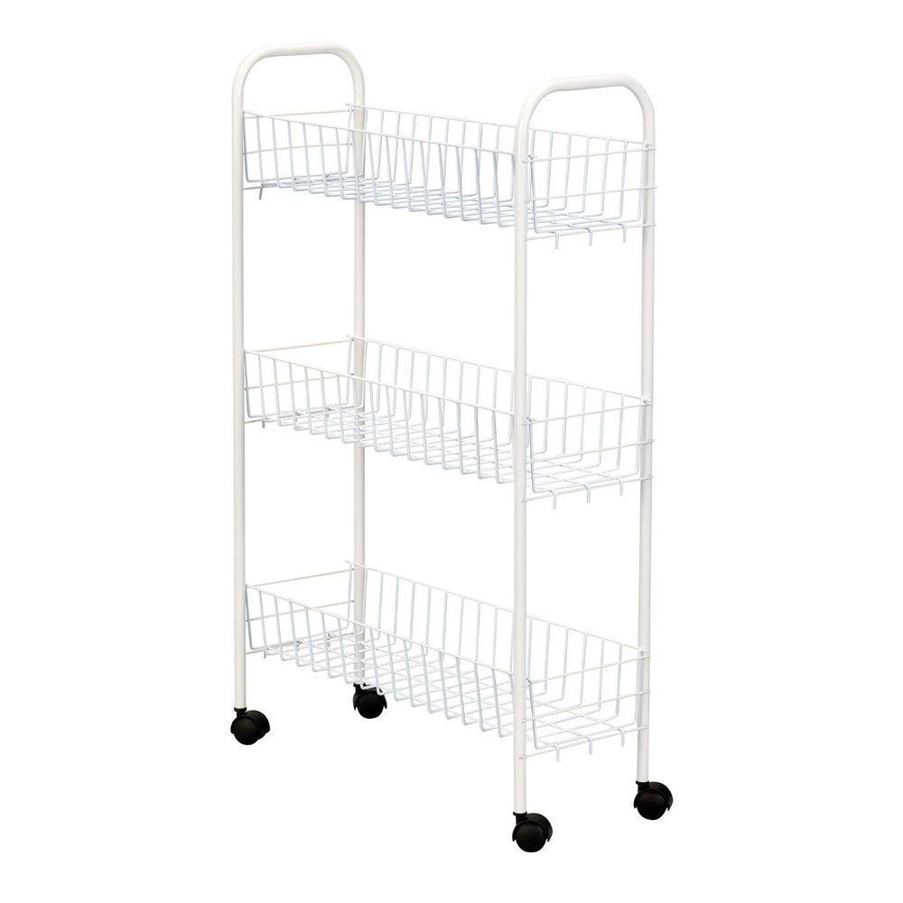 Laundry Room Kitchen Storage Cart Slim Shelves Baskets Rolling Shelf ...