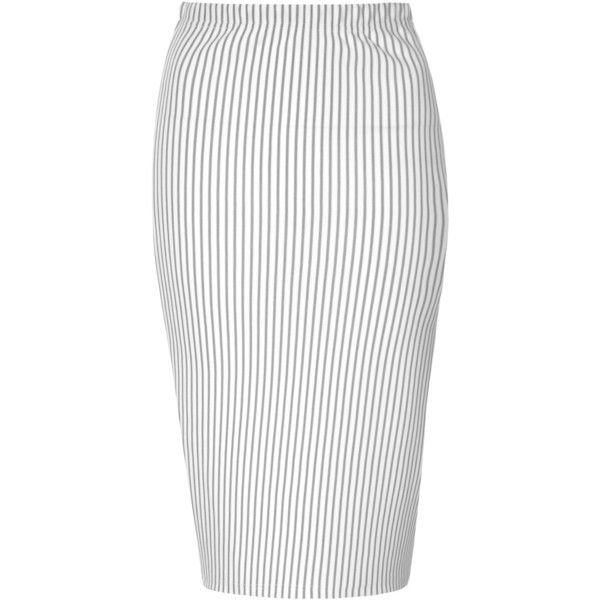 White And Black Pinstripe Pencil Skirt (85 BRL) ❤ liked on Polyvore featuring skirts, black, black white skirt, black and white skirt, midi skirt, mid calf pencil skirt and midi pencil skirt