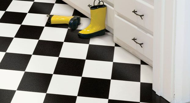 Black And White Checkerboard Floor Tile