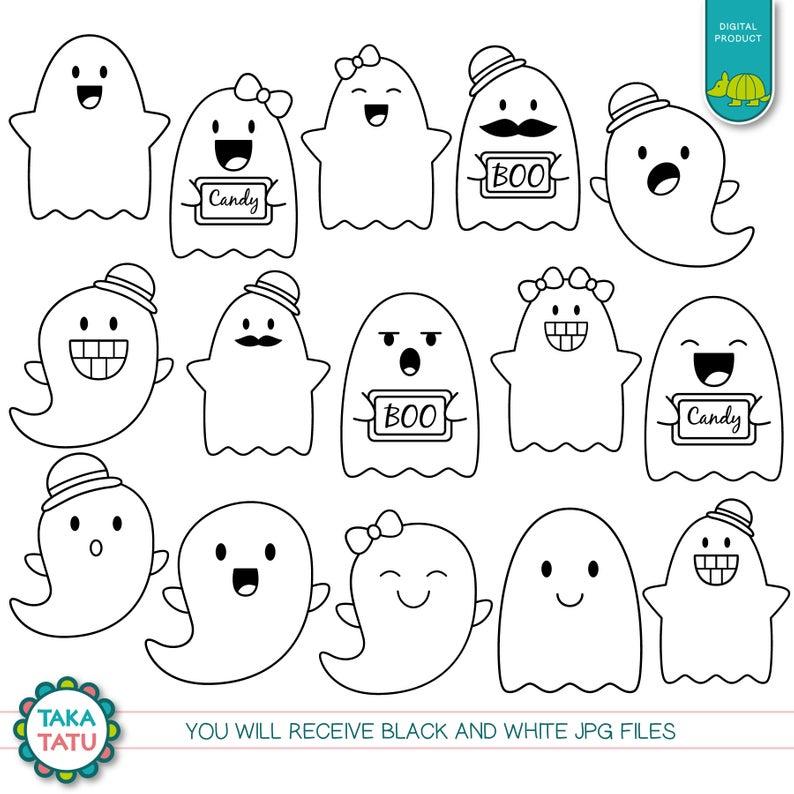 Cute Ghosts Digital Stamp Pack Cute Ghosts Clipart