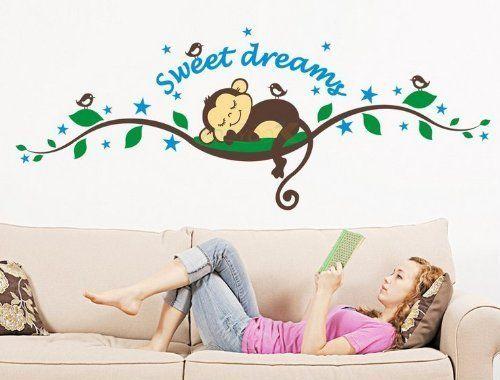 Hunnt® 27.5''x9.8'' Sweet Dreams Monkeys and Tree Branch Birds Giant Baby Wall Sticker Decals ,Super for Boys and Girls Nursery Room Home Decor Decal Children's Room, http://www.amazon.com/dp/B00EDFS7T4/ref=cm_sw_r_pi_awdm_ErKcub0NN9MDQ