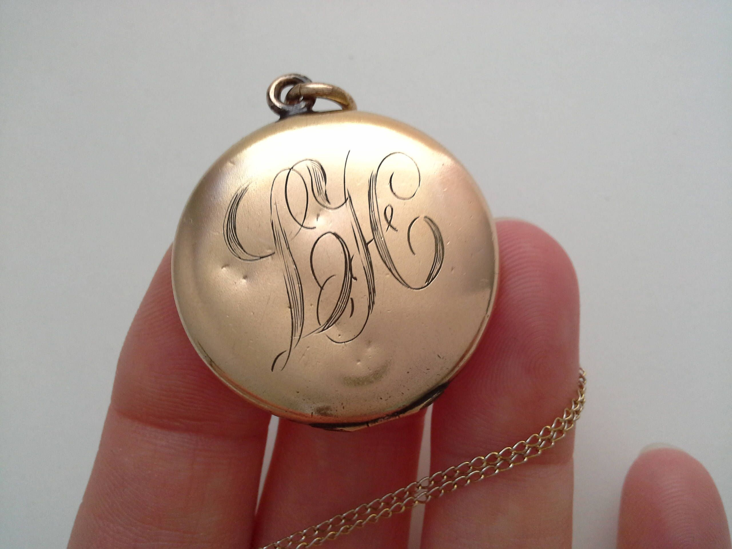 w lockets h vintage by filled gf necklace with chain locket monogrammed gold pin