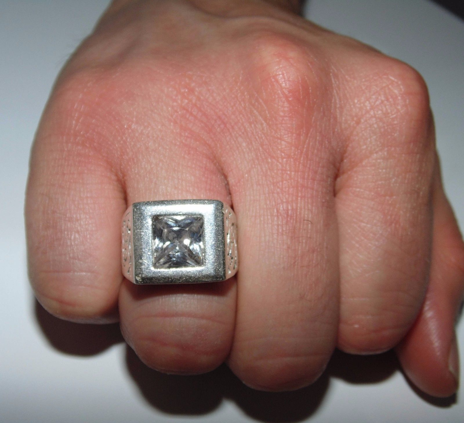 Vintage Mens Signet Cubic Zirconia Solitaire Sterling Silver Ring US ...
