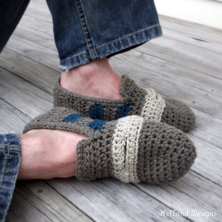 Download Now Crochet Pattern Penny Loafer Slippers Mens Sizes